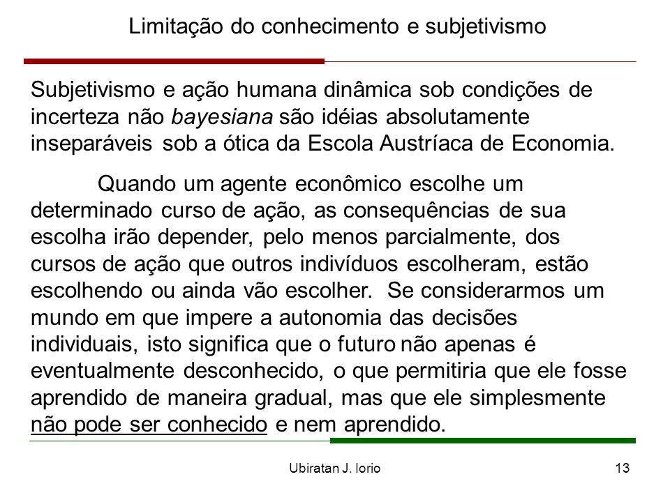Ubiratan J. Iorio12 Limitação do conhecimento e subjetivismo Uma das principais características dos economistas austríacos é o subjetivismo da sua teo
