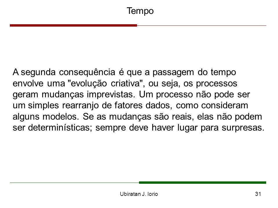 Ubiratan J. Iorio30 Tempo Há duas consequências da rejeição do tempo newtoniano e da adoção da concepção subjetiva do tempo. A primeira é que o tempo