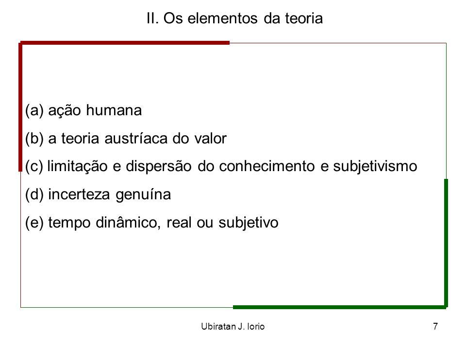 Ubiratan J. Iorio6 I. Introdução A economia é ação humana ao longo do tempo, nos mercados, sob condições de incerteza genuína.