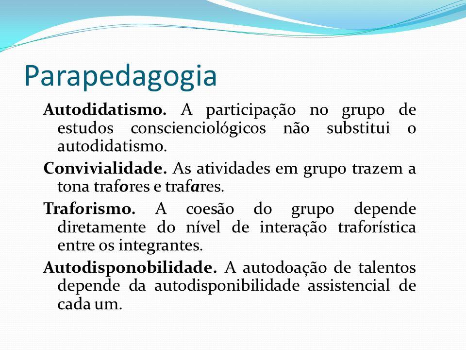 Parapedagogia Autodidatismo. A participação no grupo de estudos conscienciológicos não substitui o autodidatismo. Convivialidade. As atividades em gru