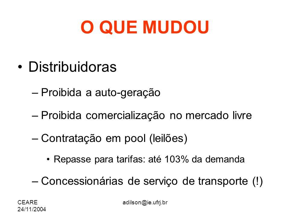 CEARE 24/11/2004 adilson@ie.ufrj.br O QUE MUDOU Distribuidoras –Proibida a auto-geração –Proibida comercialização no mercado livre –Contratação em poo