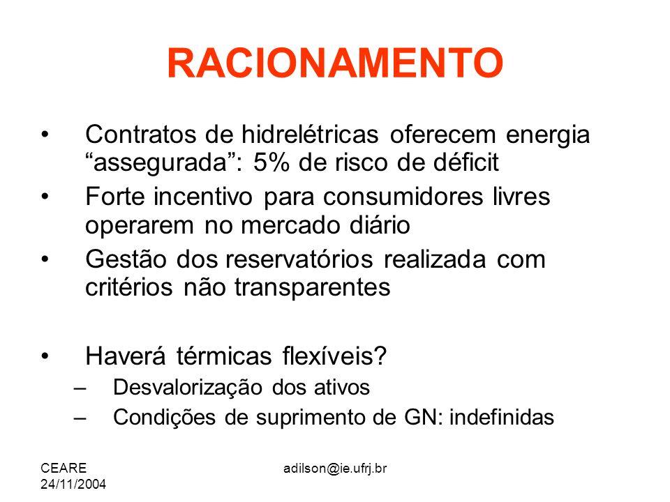 CEARE 24/11/2004 adilson@ie.ufrj.br RACIONAMENTO Contratos de hidrelétricas oferecem energia assegurada: 5% de risco de déficit Forte incentivo para c