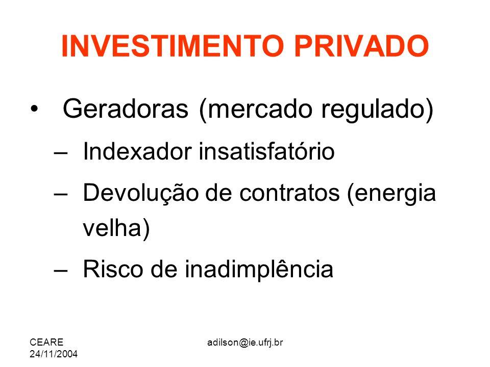 CEARE 24/11/2004 adilson@ie.ufrj.br INVESTIMENTO PRIVADO Geradoras (mercado regulado) –Indexador insatisfatório –Devolução de contratos (energia velha