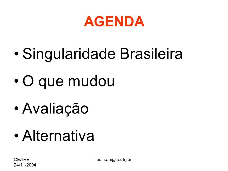 CEARE 24/11/2004 adilson@ie.ufrj.br AGENDA Singularidade Brasileira O que mudou Avaliação Alternativa
