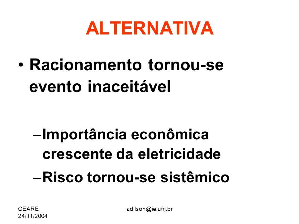 CEARE 24/11/2004 adilson@ie.ufrj.br ALTERNATIVA Racionamento tornou-se evento inaceitável –Importância econômica crescente da eletricidade –Risco torn