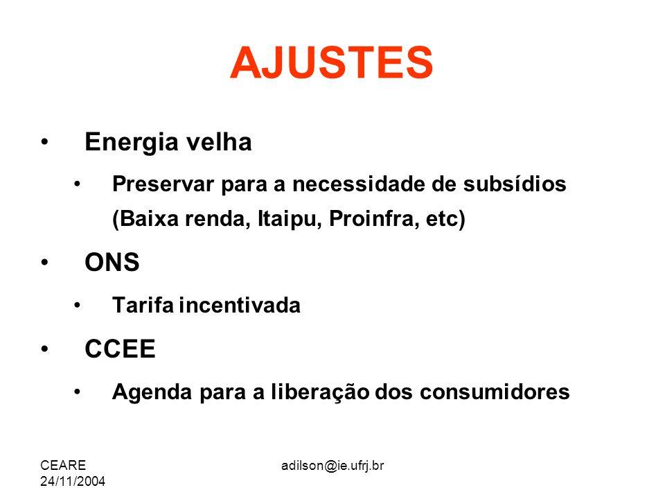 CEARE 24/11/2004 adilson@ie.ufrj.br AJUSTES Energia velha Preservar para a necessidade de subsídios (Baixa renda, Itaipu, Proinfra, etc) ONS Tarifa in