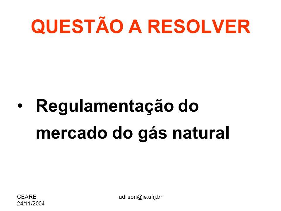 CEARE 24/11/2004 adilson@ie.ufrj.br QUESTÃO A RESOLVER Regulamentação do mercado do gás natural