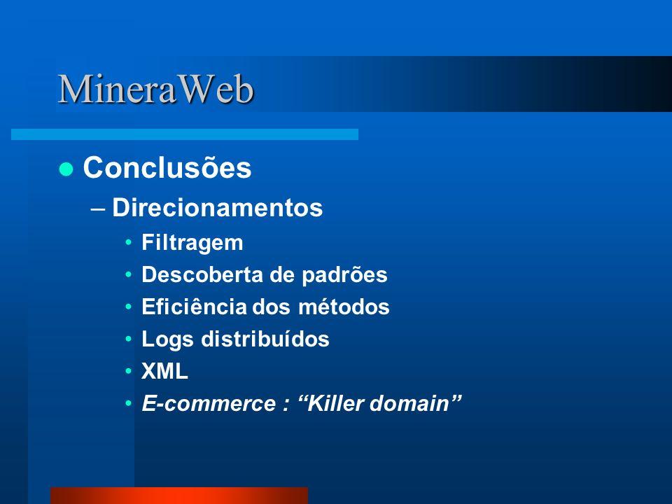 MineraWeb Conclusões –Direcionamentos Filtragem Descoberta de padrões Eficiência dos métodos Logs distribuídos XML E-commerce : Killer domain