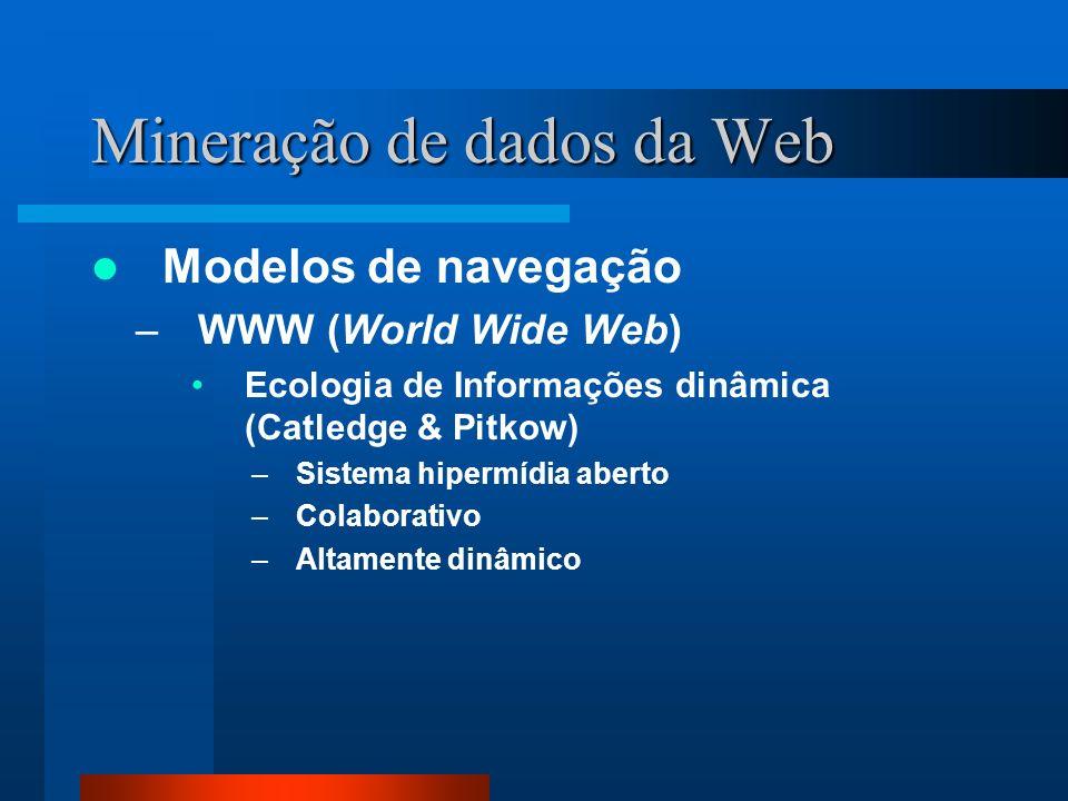 Mineração de dados da Web Modelos de navegação –WWW (World Wide Web) Ecologia de Informações dinâmica (Catledge & Pitkow) –Sistema hipermídia aberto –