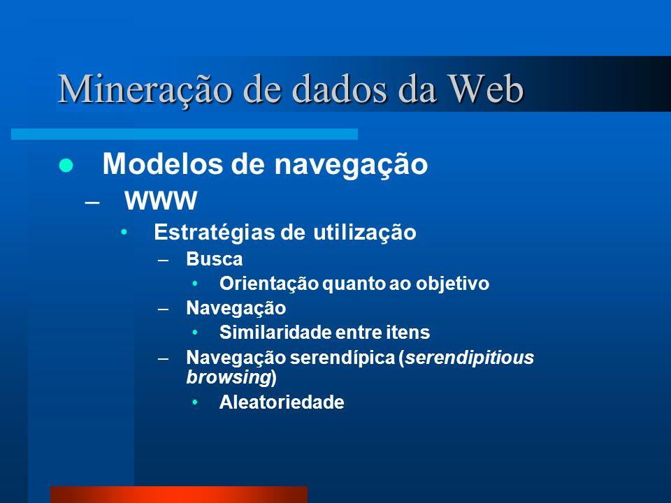 Mineração de dados da Web Modelos de navegação –WWW Estratégias de utilização –Busca Orientação quanto ao objetivo –Navegação Similaridade entre itens