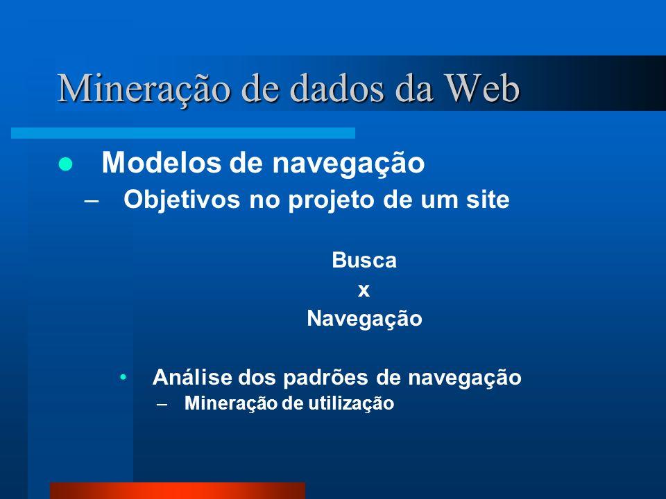 Mineração de dados da Web Modelos de navegação –Objetivos no projeto de um site Busca x Navegação Análise dos padrões de navegação –Mineração de utili