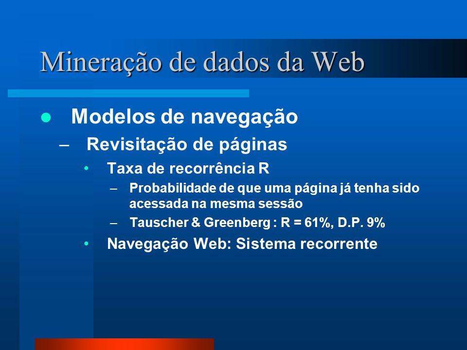 Mineração de dados da Web Modelos de navegação –Revisitação de páginas Taxa de recorrência R –Probabilidade de que uma página já tenha sido acessada n
