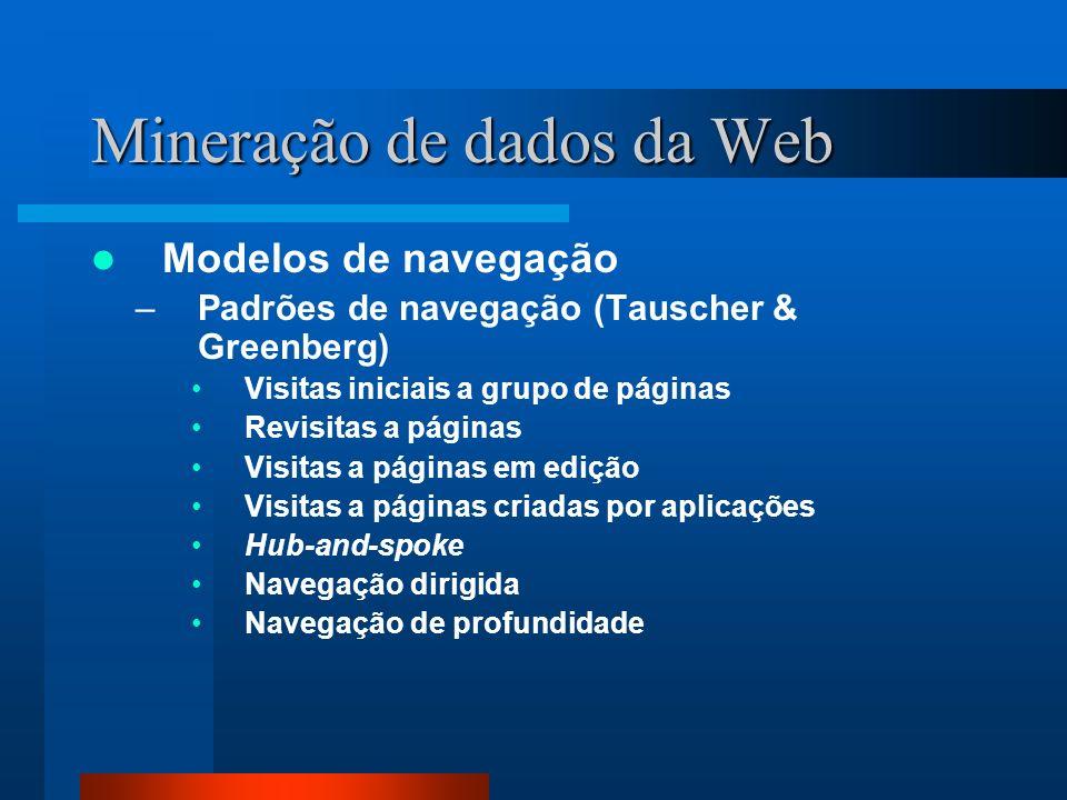 Mineração de dados da Web Modelos de navegação –Padrões de navegação (Tauscher & Greenberg) Visitas iniciais a grupo de páginas Revisitas a páginas Vi