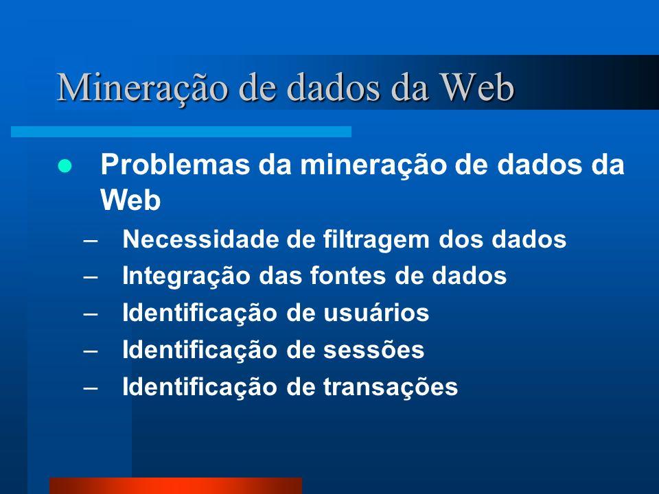 Mineração de dados da Web Problemas da mineração de dados da Web –Necessidade de filtragem dos dados –Integração das fontes de dados –Identificação de