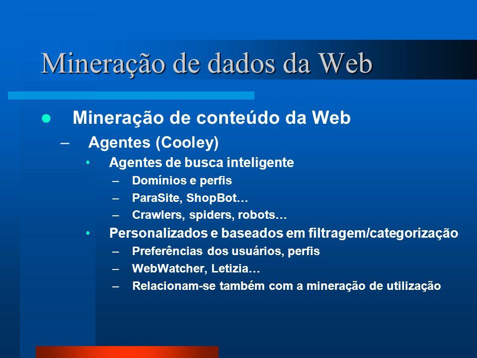 Mineração de dados da Web Mineração de conteúdo da Web –Agentes (Cooley) Agentes de busca inteligente –Domínios e perfis –ParaSite, ShopBot… –Crawlers