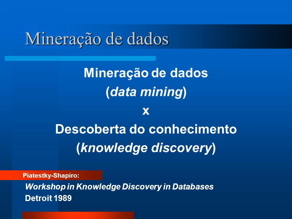 Mineração de dados (data mining) x Descoberta do conhecimento (knowledge discovery) Piatestky-Shapiro: Workshop in Knowledge Discovery in Databases De