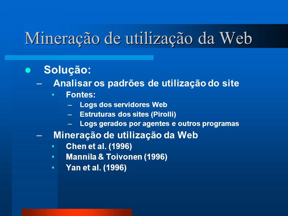 Mineração de utilização da Web Solução: –Analisar os padrões de utilização do site Fontes: –Logs dos servidores Web –Estruturas dos sites (Pirolli) –L