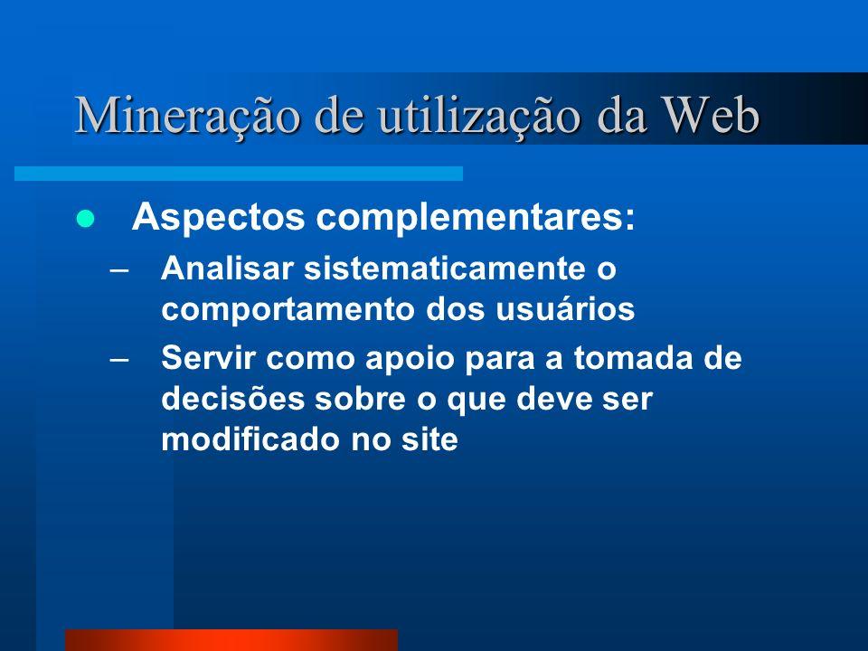 Mineração de utilização da Web Aspectos complementares: –Analisar sistematicamente o comportamento dos usuários –Servir como apoio para a tomada de de