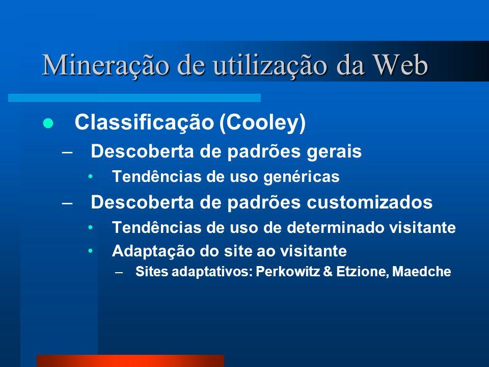 Mineração de utilização da Web Classificação (Cooley) –Descoberta de padrões gerais Tendências de uso genéricas –Descoberta de padrões customizados Te