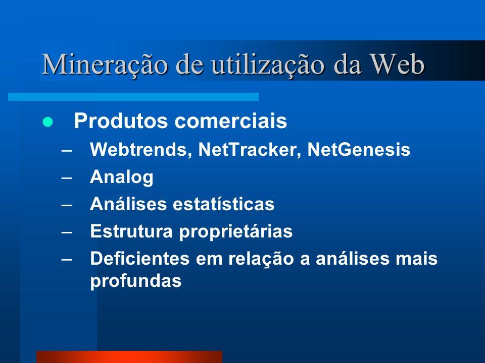 Mineração de utilização da Web Produtos comerciais –Webtrends, NetTracker, NetGenesis –Analog –Análises estatísticas –Estrutura proprietárias –Deficie