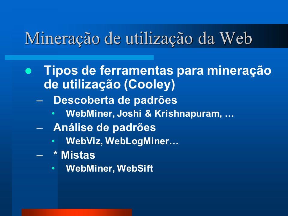 Mineração de utilização da Web Tipos de ferramentas para mineração de utilização (Cooley) –Descoberta de padrões WebMiner, Joshi & Krishnapuram, … –An