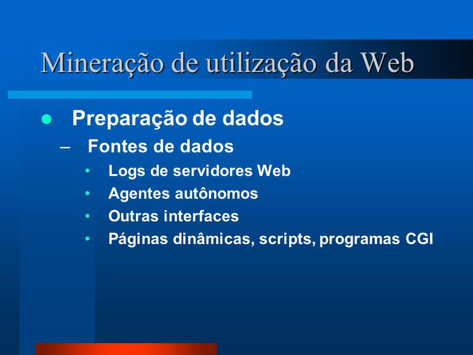 Mineração de utilização da Web Preparação de dados –Fontes de dados Logs de servidores Web Agentes autônomos Outras interfaces Páginas dinâmicas, scri