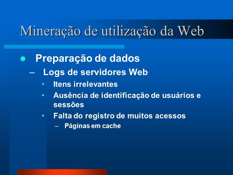 Mineração de utilização da Web Preparação de dados –Logs de servidores Web Itens irrelevantes Ausência de identificação de usuários e sessões Falta do