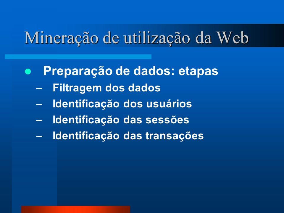Mineração de utilização da Web Preparação de dados: etapas –Filtragem dos dados –Identificação dos usuários –Identificação das sessões –Identificação