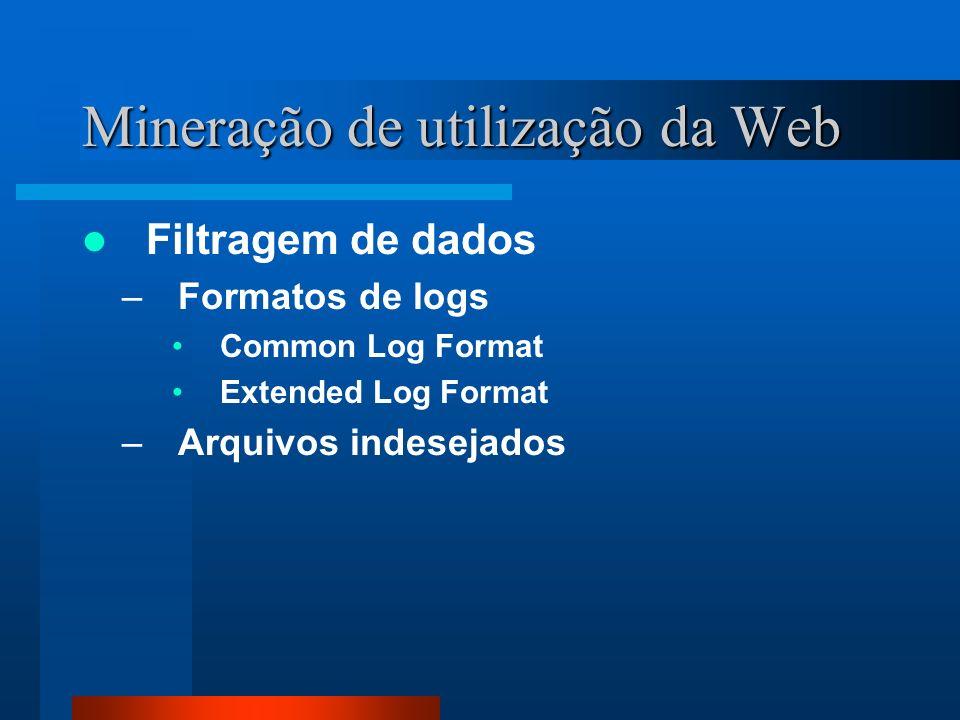 Mineração de utilização da Web Filtragem de dados –Formatos de logs Common Log Format Extended Log Format –Arquivos indesejados