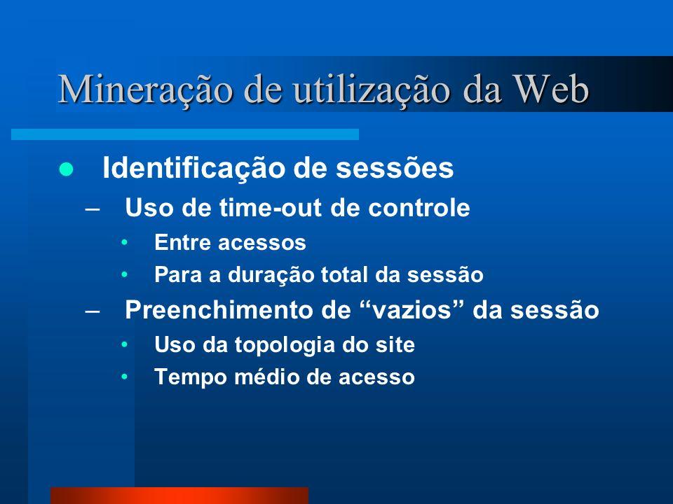 Mineração de utilização da Web Identificação de sessões –Uso de time-out de controle Entre acessos Para a duração total da sessão –Preenchimento de va