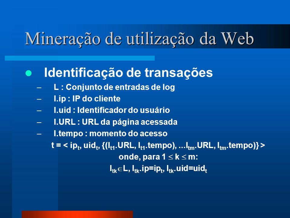 Mineração de utilização da Web Identificação de transações –L : Conjunto de entradas de log –l.ip : IP do cliente –l.uid : Identificador do usuário –l