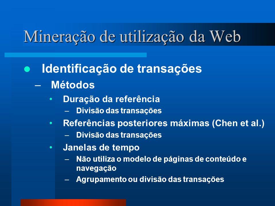 Mineração de utilização da Web Identificação de transações –Métodos Duração da referência –Divisão das transações Referências posteriores máximas (Che
