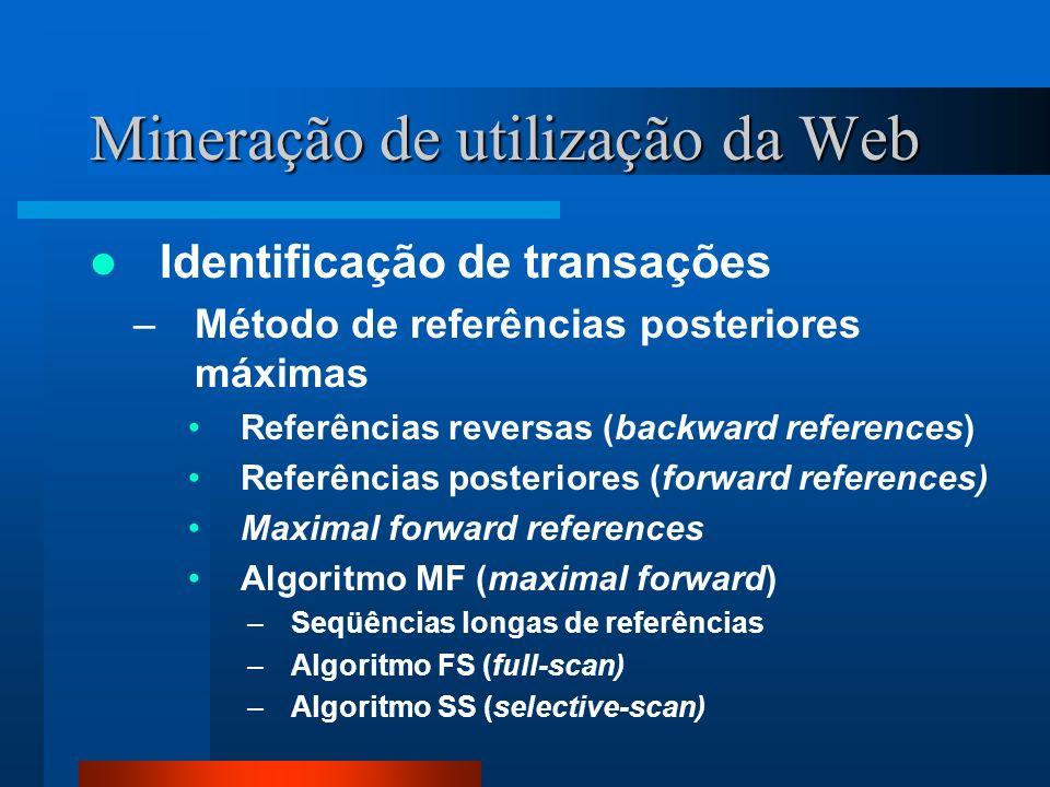 Mineração de utilização da Web Identificação de transações –Método de referências posteriores máximas Referências reversas (backward references) Refer