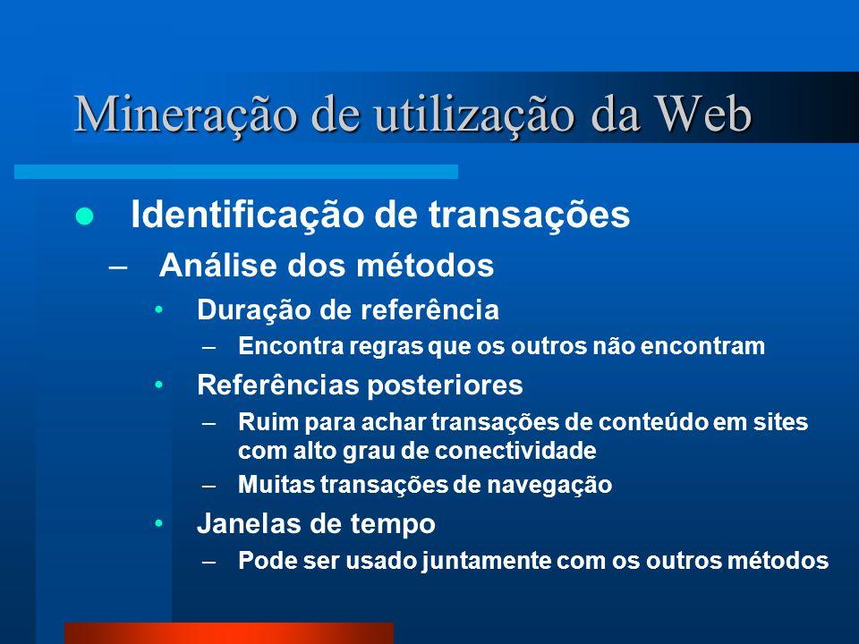 Mineração de utilização da Web Identificação de transações –Análise dos métodos Duração de referência –Encontra regras que os outros não encontram Ref
