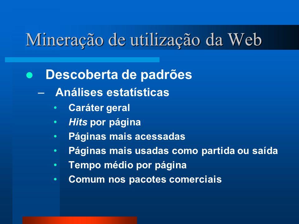Mineração de utilização da Web Descoberta de padrões –Análises estatísticas Caráter geral Hits por página Páginas mais acessadas Páginas mais usadas c