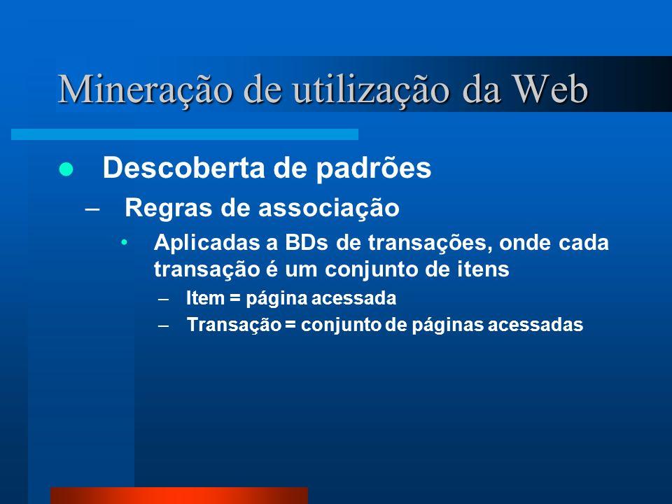 Mineração de utilização da Web Descoberta de padrões –Regras de associação Aplicadas a BDs de transações, onde cada transação é um conjunto de itens –