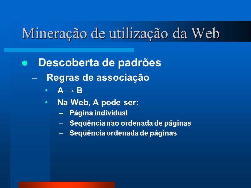 Mineração de utilização da Web Descoberta de padrões –Regras de associação A B Na Web, A pode ser: –Página individual –Seqüência não ordenada de págin