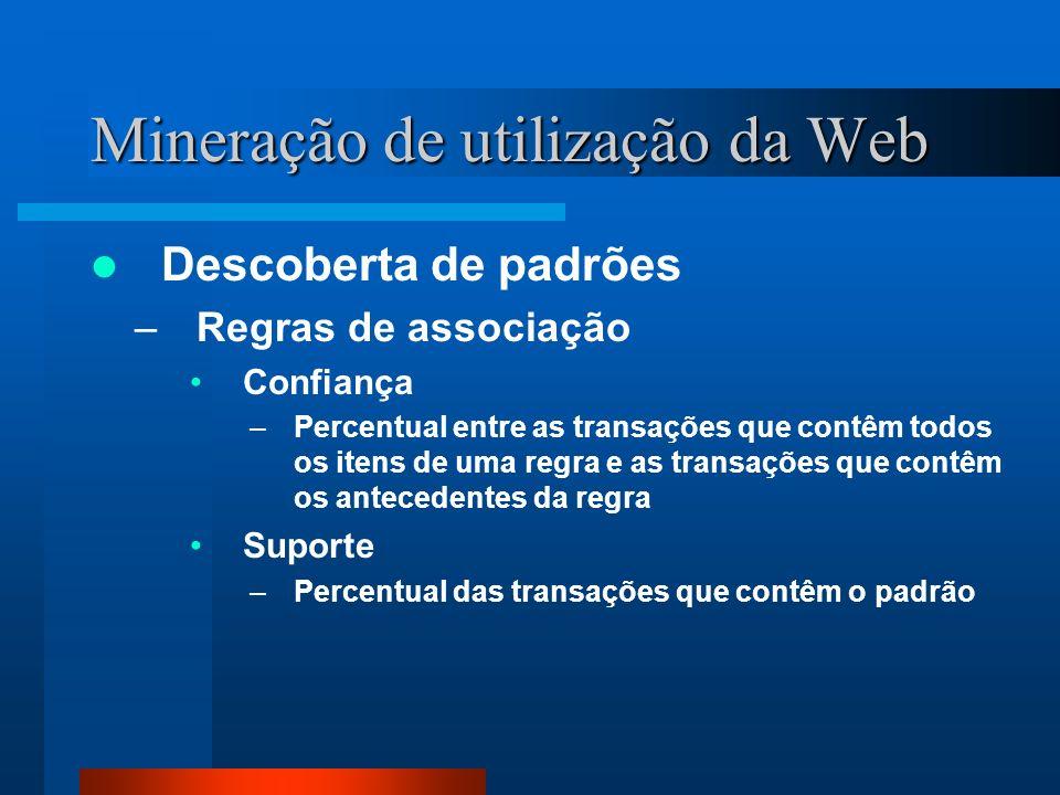 Mineração de utilização da Web Descoberta de padrões –Regras de associação Confiança –Percentual entre as transações que contêm todos os itens de uma