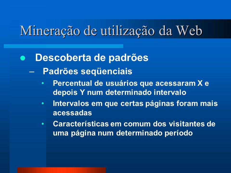 Mineração de utilização da Web Descoberta de padrões –Padrões seqüenciais Percentual de usuários que acessaram X e depois Y num determinado intervalo