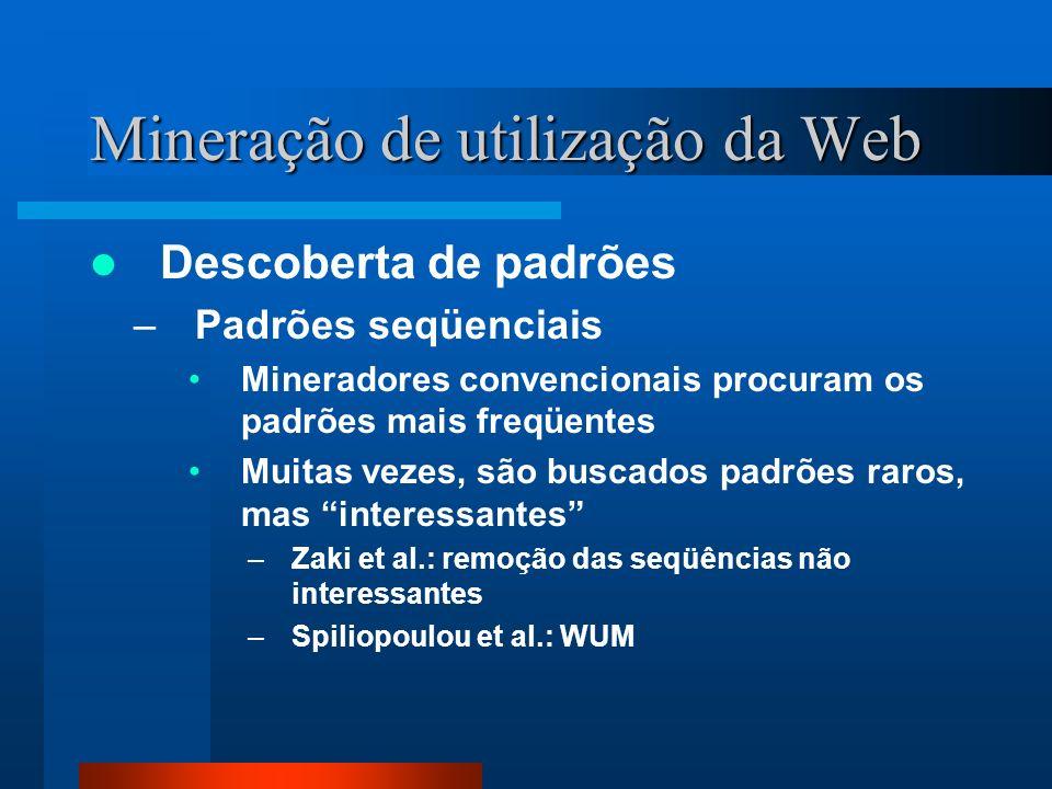 Mineração de utilização da Web Descoberta de padrões –Padrões seqüenciais Mineradores convencionais procuram os padrões mais freqüentes Muitas vezes,