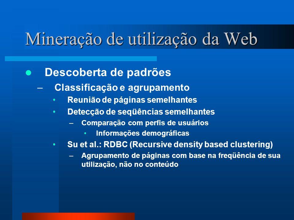 Mineração de utilização da Web Descoberta de padrões –Classificação e agrupamento Reunião de páginas semelhantes Detecção de seqüências semelhantes –C