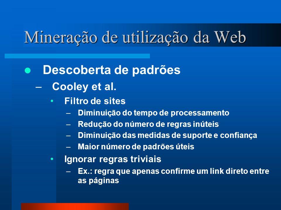 Mineração de utilização da Web Descoberta de padrões –Cooley et al. Filtro de sites –Diminuição do tempo de processamento –Redução do número de regras