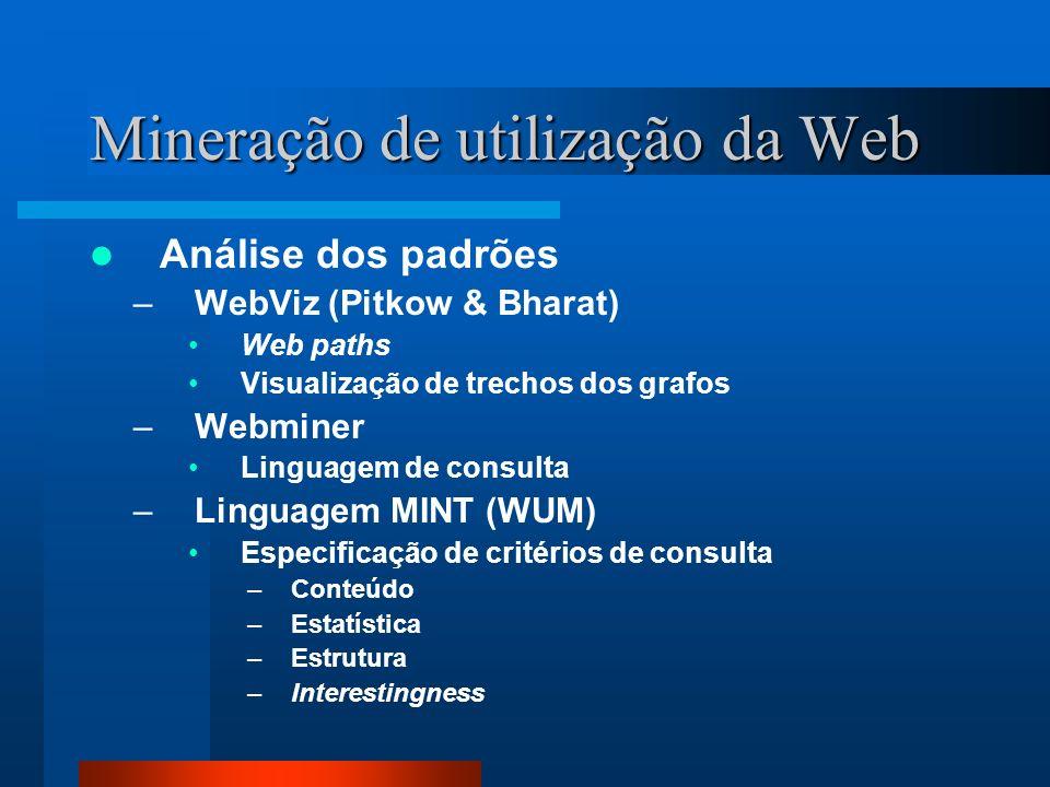 Mineração de utilização da Web Análise dos padrões –WebViz (Pitkow & Bharat) Web paths Visualização de trechos dos grafos –Webminer Linguagem de consu