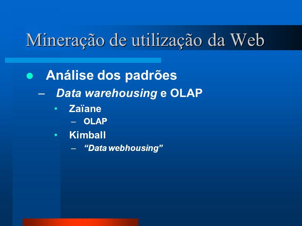 Mineração de utilização da Web Análise dos padrões –Data warehousing e OLAP Zaïane –OLAP Kimball –Data webhousing