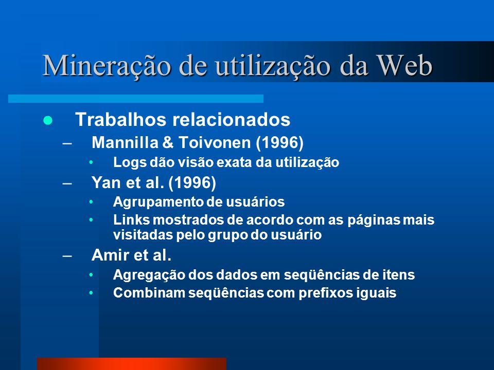 Mineração de utilização da Web Trabalhos relacionados –Mannilla & Toivonen (1996) Logs dão visão exata da utilização –Yan et al. (1996) Agrupamento de