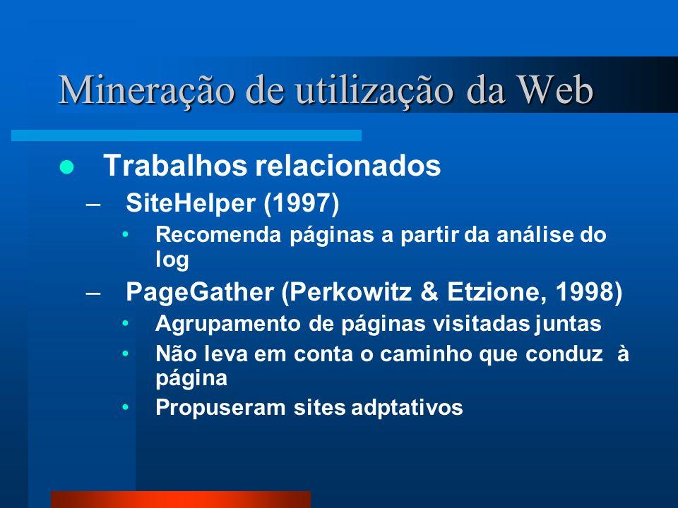 Mineração de utilização da Web Trabalhos relacionados –SiteHelper (1997) Recomenda páginas a partir da análise do log –PageGather (Perkowitz & Etzione