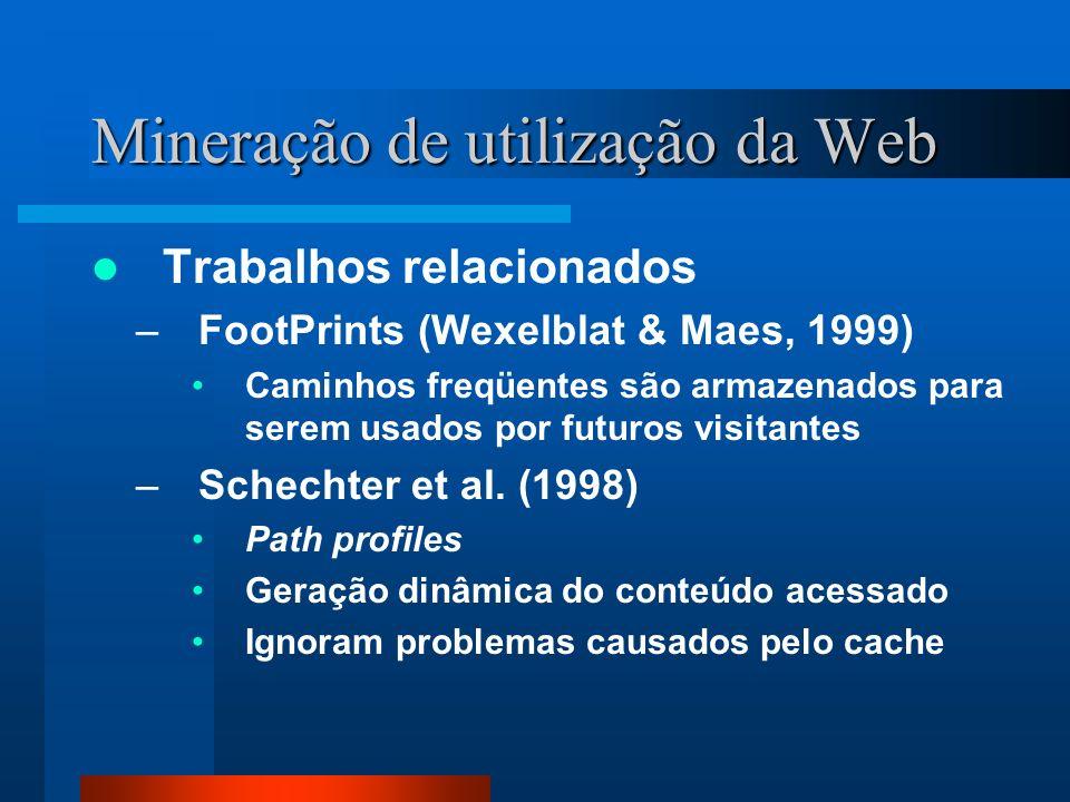 Mineração de utilização da Web Trabalhos relacionados –FootPrints (Wexelblat & Maes, 1999) Caminhos freqüentes são armazenados para serem usados por f