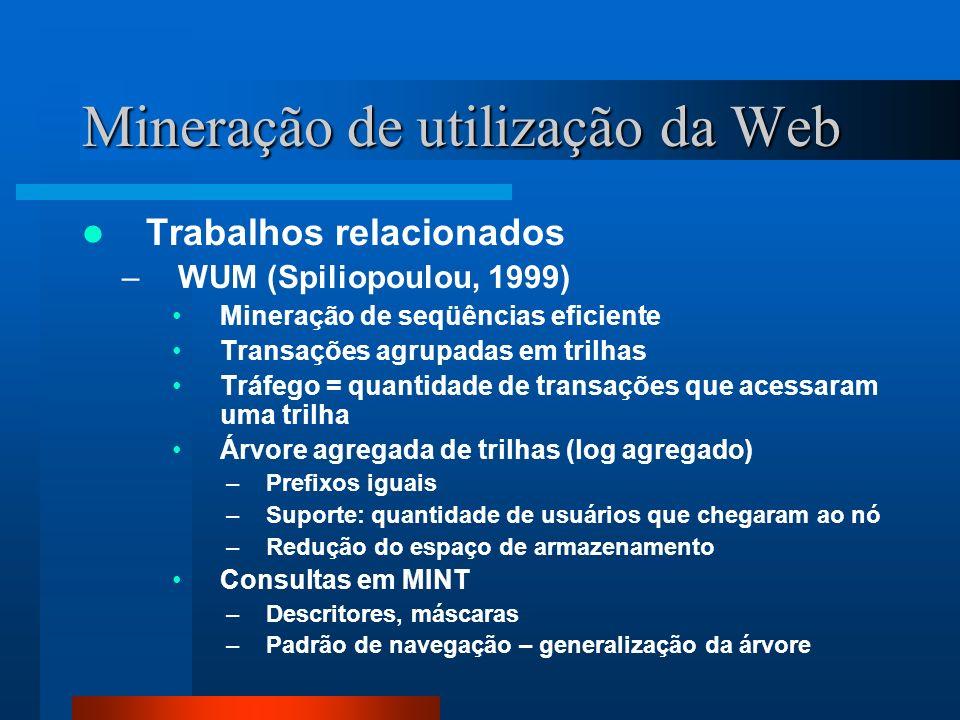 Mineração de utilização da Web Trabalhos relacionados –WUM (Spiliopoulou, 1999) Mineração de seqüências eficiente Transações agrupadas em trilhas Tráf