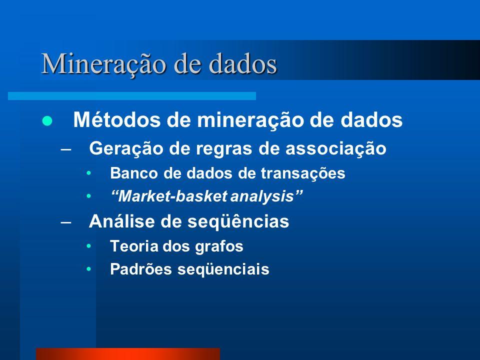 Mineração de dados Métodos de mineração de dados –Classificação Conhecimento apriorístico sobre classes Perfis de itens com atributos em comum –Agrupamento (clustering) Sem conhecimento prévio sobre classes Dados similares Métricas para distância Clusters