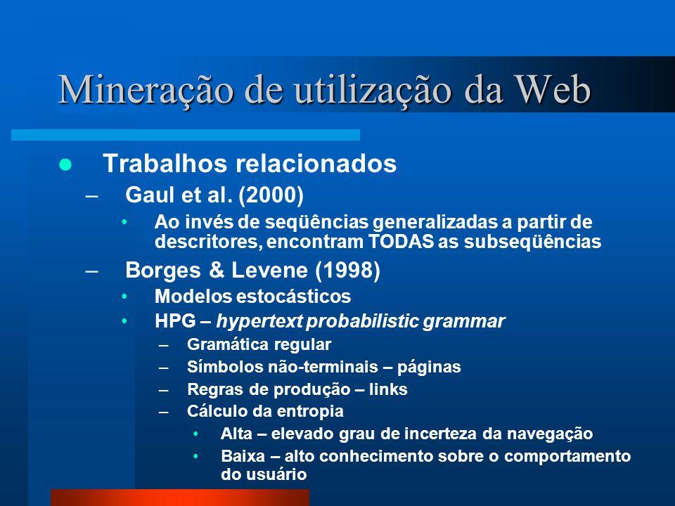 Mineração de utilização da Web Trabalhos relacionados –Gaul et al. (2000) Ao invés de seqüências generalizadas a partir de descritores, encontram TODA